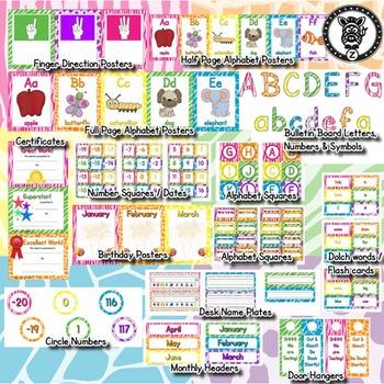 Classroom Theme Decor / Organization - Mega Bundle (Editable!) Neon Animal Print