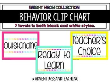 Bright Neon Behavior Clip Chart