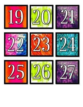 Bright Neon Calendar Numbers