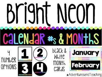 Bright Neon Calendar Numbers
