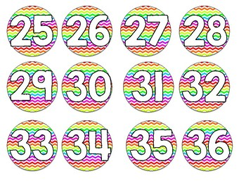 Bright Neon Chevron Numbered Circle Labels