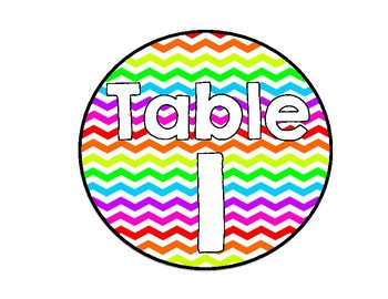 Bright Neon Chevron Table Numbers
