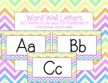 Bright Neon Chevron Word Wall Letters