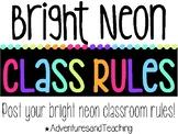 Bright Neon Classroom Rules {Landscape}