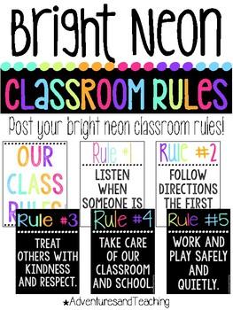 Bright Neon Classroom Rules {Portrait}
