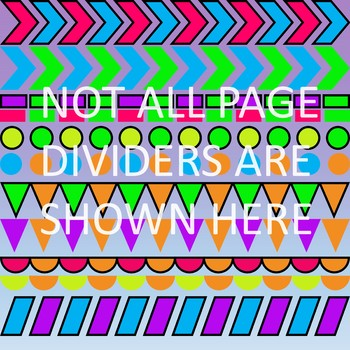 Bright Neon Color Page Dividers Clipart