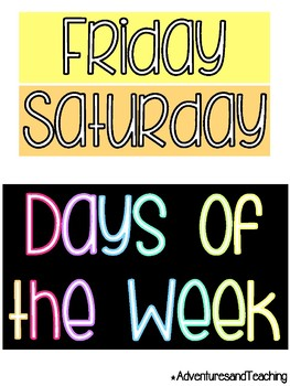 Bright Neon Days of the Week Poster