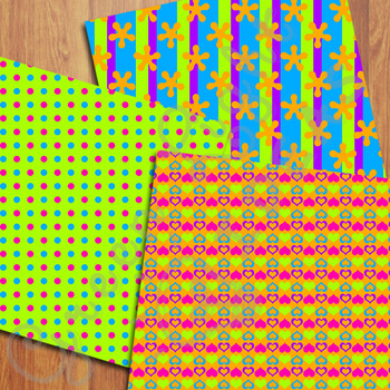 Bright Neon Digital Papers / Neon Party Backgrounds
