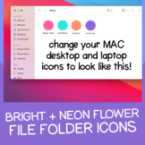 Bright + Neon Flower File Folder Icons for MAC / Apple