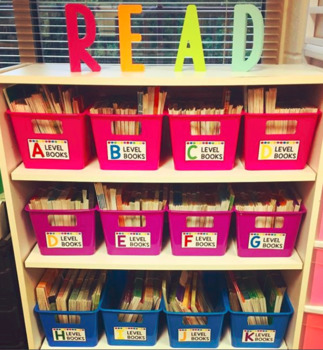 Bright Neon Leveled Library Labels for Book Bins