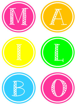Bright Neon Mailbox Labels and Numbers