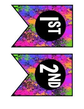 Bright Neon Paint Splatter Class Pack-EDITABLE!