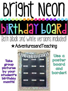 Bright Neon Picture Birthday Board