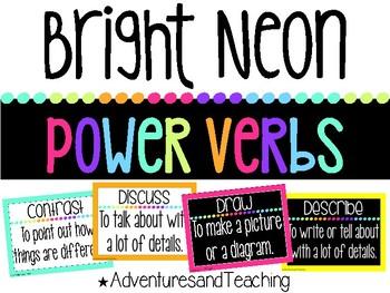 Bright Neon Power Verbs