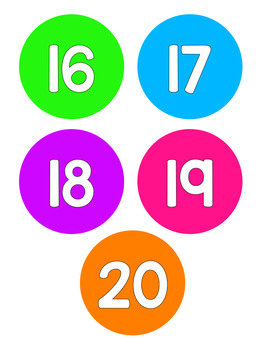 Bright Neon Rainbow Number Posters 1-20