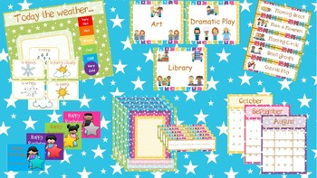 Bright / Neon Stars Classroom Theme and Decor (English and Spanish)