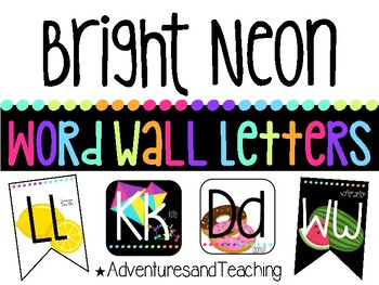 Bright Neon Word Wall Letter Pennant Cards