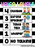 Bright Neon and Stripes Voice Level Poster {FREEBIE}