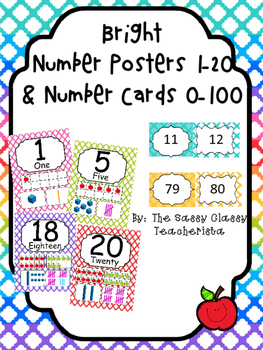 Bright Number Posters 1-20 Number Cards 0-100