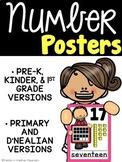 Bright Number Posters - Pre-K, Kindergarten, & 1st grade