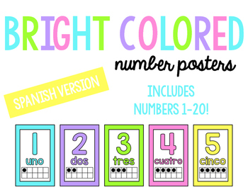 Bright Number Posters- Spanish