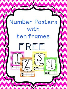 Bright Number Posters with Ten Frames 0-10