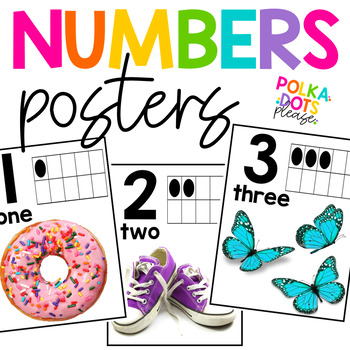Bright Numbers 0-20 Posters with Photographs
