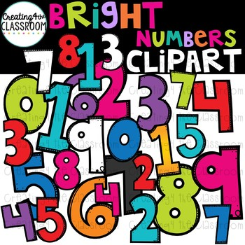 Bright Numbers Clipart  {Numbers Clipart}