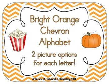 Bright Orange Chevron Alphabet Cards
