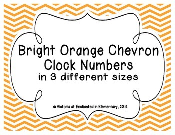 Bright Orange Chevron Clock Numbers