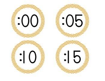 Bright Orange Chevron Clock Numbers