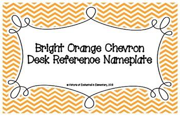 Bright Orange Chevron Desk Reference Nameplates