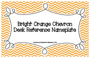 Bright Orange Chevron Desk Reference Nameplates