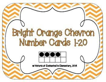 Bright Orange Chevron Number Cards 1-20