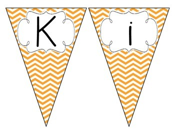 Bright Orange Chevron Welcome Pennant