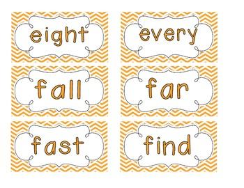 Bright Orange Chevron Word Wall Cards