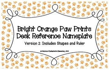 Bright Orange Paw Prints Desk Reference Nameplates Version 2