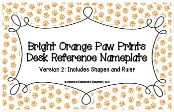 Bright Orange Paw Prints Desk Reference Nameplates Version 2