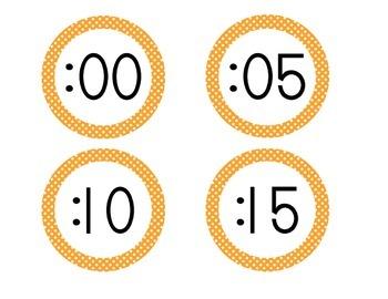 Bright Orange Polka Dot Clock Numbers