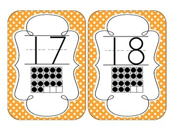Bright Orange Polka Dot Number Cards 1-20