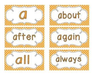 Bright Orange Polka Dot Word Wall Cards