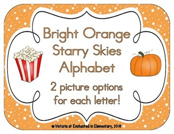 Bright Orange Starry Skies Alphabet Cards