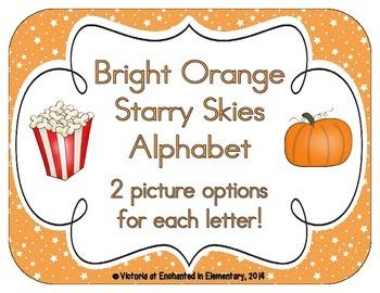 Bright Orange Starry Skies Alphabet Cards
