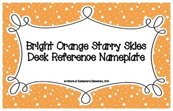 Bright Orange Starry Skies Desk Reference Nameplates