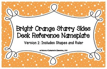 Bright Orange Starry Skies Desk Reference Nameplates Version 2