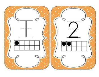 Bright Orange Starry Skies Number Cards 1-20