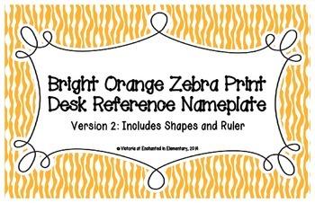 Bright Orange Zebra Print Desk Reference Nameplates Version 2