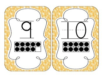 Bright Orange Zebra Print Number Cards 1-20