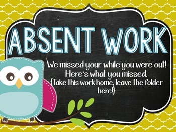 Bright Owl Absent Folder Covers
