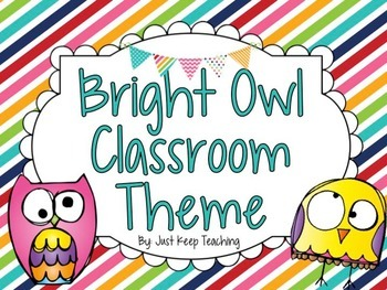 Bright Owl Classroom Theme- HUGE, Bundled, Chevron, Stripes, Dots